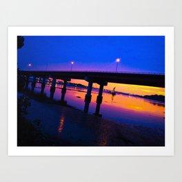 Colorful Casco Bay Bridge Sunset in South Portland, Maine Art Print