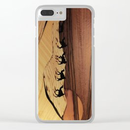 Desert or Sahara of wood marquetry art landscape picture Clear iPhone Case