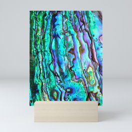 Glowing Aqua Abalone Shell Mother of Pearl Mini Art Print