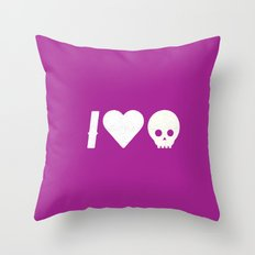 I Love Skulls Throw Pillow