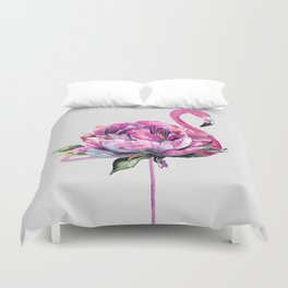 Flower Flamingo Duvet Cover