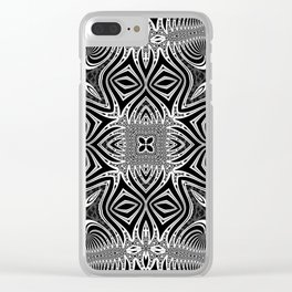 Black & White Tribal Symmetry Clear iPhone Case