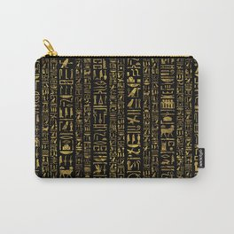 Egyptian hieroglyphs vintage gold on black Carry-All Pouch