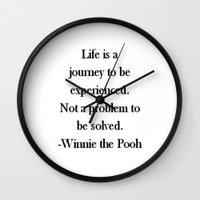 winnie the pooh Wall Clocks featuring Winnie the Pooh Quote by Scarlett Alaska