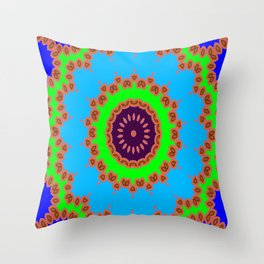 Lovely Healing Mandalas in Brilliant Colors: Royal Blue, Green, Light Blue, Orange, Maroon and Pink Throw Pillow