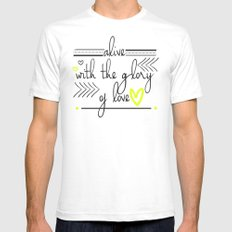 Alive with the Glory of Love White Mens Fitted Tee SMALL