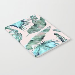 Tropical Palm Leaves Turquoise Green Coral Pink Notebook