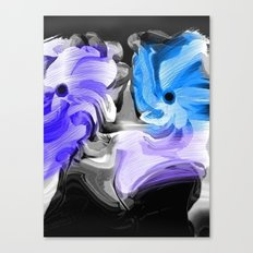 Abstract Flowers in Blue and Lavender Canvas Print