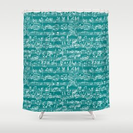 Hand Written Sheet Music // Teal Shower Curtain