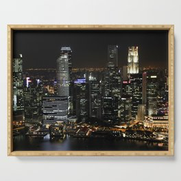 city at night lights skyline Serving Tray
