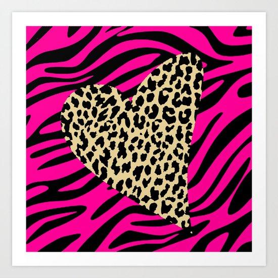 Leopard Zebra Love Art Print