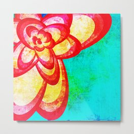 Red Abstract Flower Metal Print