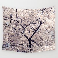 cherry blossom Wall Tapestries featuring Cherry Blossom * by Neon Wildlife