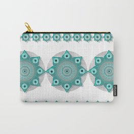 """Teal Flower Power ^_^"" Carry-All Pouch"