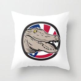 American Alligator USA Flag Icon Throw Pillow