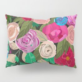 Rose, chamomile, buds, peony floral pattern black background Pillow Sham