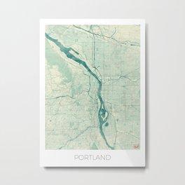Portland Map Blue Vintage Metal Print