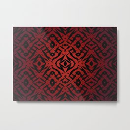 Red tribal shapes pattern Metal Print