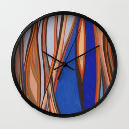 Retro Blues Browns Oranges Line Design with Pastels by annmariescreations Wall Clock