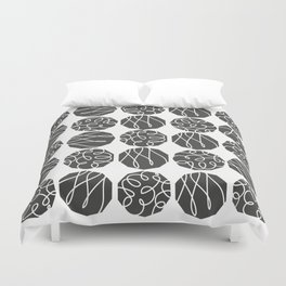 Grey on White Duvet Cover