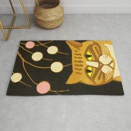 Japanese Cat Cubism Woodblock Print Cherry Blossom Midcentury Modern Rug
