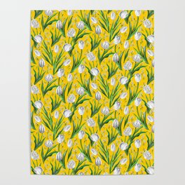 White Tulips & Baby's Breath  — Yellow Poster