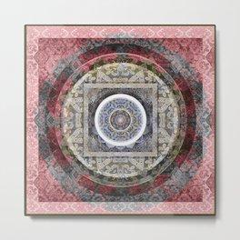 Rose Pink and Gentle Grey (gray) Tibetan Boho Mandala Print Metal Print