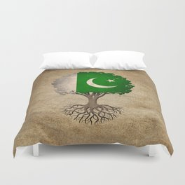 Vintage Tree of Life with Flag of Pakistan Duvet Cover