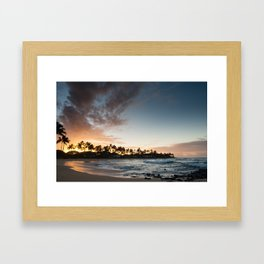 Sunrise at Poipu beach in Kauai, Hawaii Framed Art Print