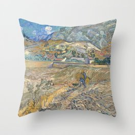 Van Gogh, Enclosed Wheat Field with Peasant Throw Pillow