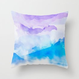 Turquoise Batik Mountains Throw Pillow