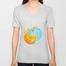 Fire And Water Harmony Yin Yang Mandala Zen Gift Unisex V-Neck