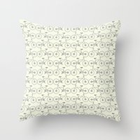 bicycles Throw Pillows featuring Bicycles by superdumb