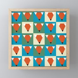 Foxes geometric pattern Framed Mini Art Print