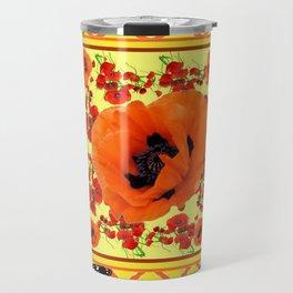 MONARCH BUTTERFLIES & POPPIES GARDEN GREY DESIGN Travel Mug