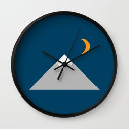 Mountain and Crescent Moon Illustration Wall Clock
