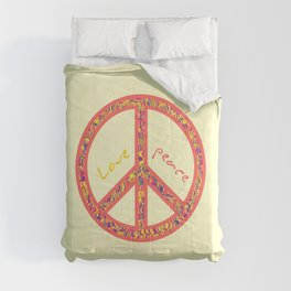 Peace and love, colorful and groovy hippie sign, 60's symbol of freedom Comforters