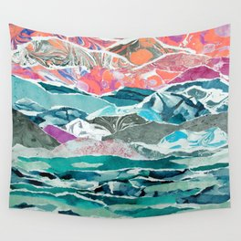 Abstract Collage Landscape Wall Tapestry
