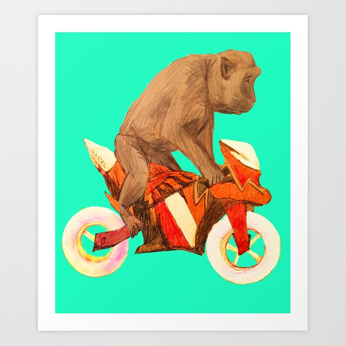 MONKEY BIKER Art Print