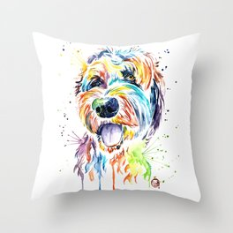 Goldendoodle, Golden Doodle Watercolor Pet Portrait Painting Throw Pillow