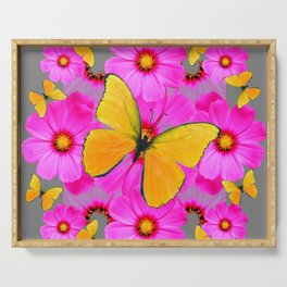 GOLDEN BUTTERFLIES FUCHSIA PINK FLORAL GREY ART Serving Tray