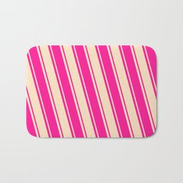 Deep Pink & Bisque Colored Striped/Lined Pattern Bath Mat