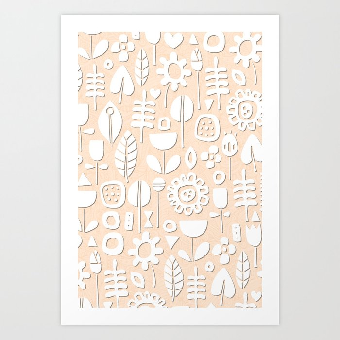 paper cut flowers white peach Art Print