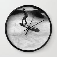 skateboard Wall Clocks featuring #Skateboard by Yancey Wells