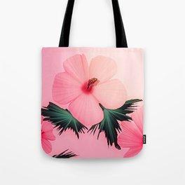 Tropical Pink Hibiscus Flower Print Tote Bag