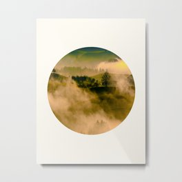 Mid Century Modern Round Circle Photo Graphic Design Foggy Green Country Landscape Metal Print