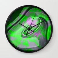 "malachite Wall Clocks featuring "" Malachite ""  by shiva camille"