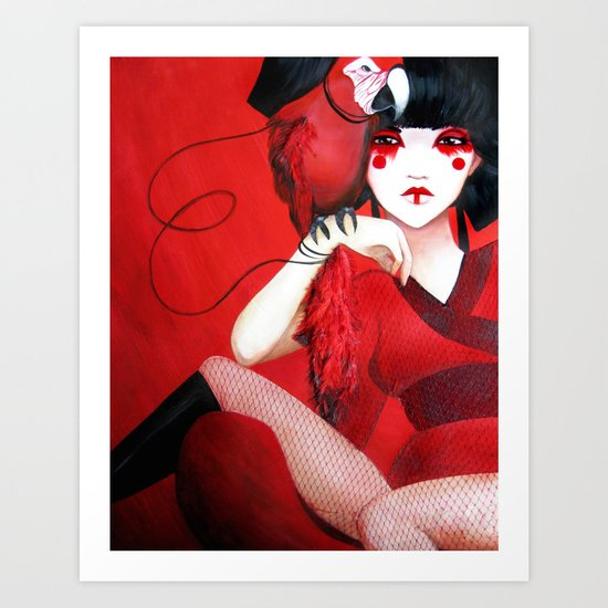 Kimiko the Geisha in Red Art Print