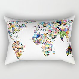 World map full of flowers and birds Rectangular Pillow