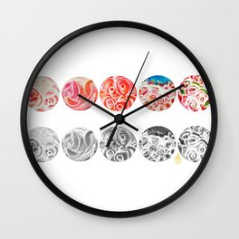 Roses Are Cream, Five Marbles and Circles of Shadow Reflection Wall Clock